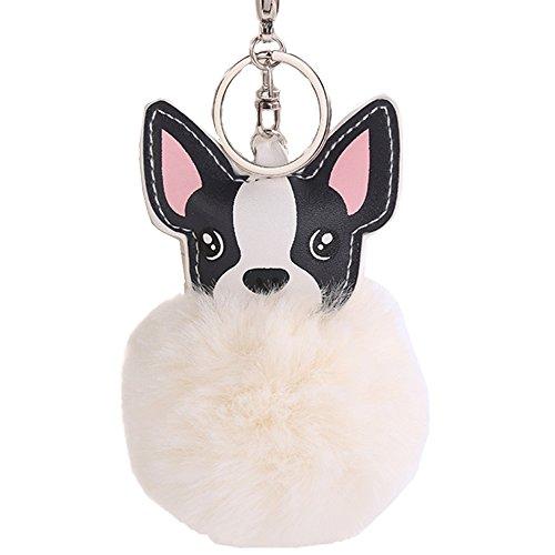 Women's Cute Chihuahua Dog Faux Fur Pom Pom keychain Handbag Purse Jewellry Holder Keyring Backpack Pendants (Beige) (Chihuahua Keychain)