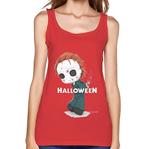 (LR Women's Michael Myers Halloween Attack Cotton Tank Top Tee Red)