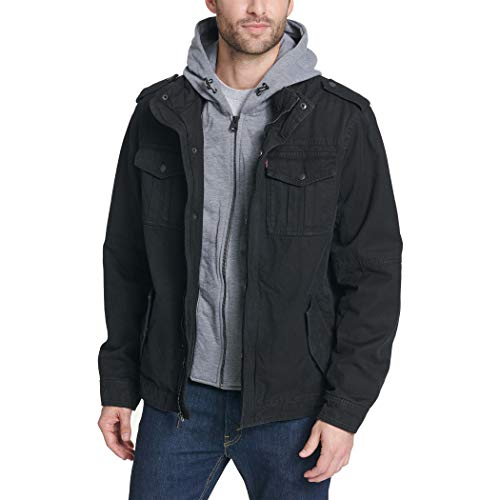 Levi's Men's Washed Cotton Military Jacket with Removable Hood (Standard and Big & Tall) 3