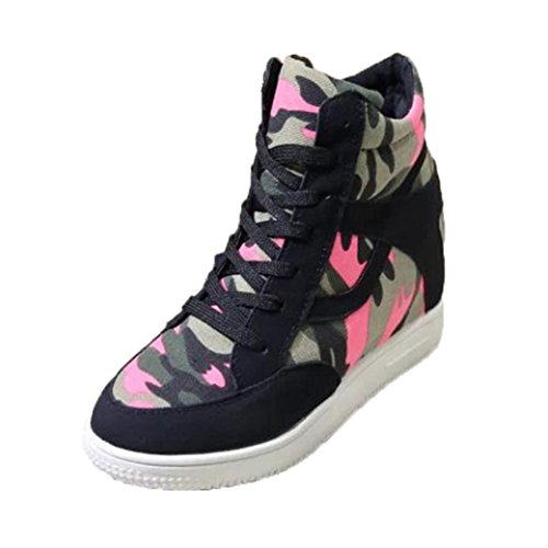 cheap Women Casual Shoes,Clearance! AgrinTol Women Fashion Height Increasing High-Top Breathable Canvas Classic on sale