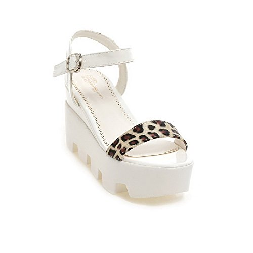 AllhqFashion Women's Buckle High-Heels PU Assorted Color Open Toe Sandals White r1XkIiWoEY