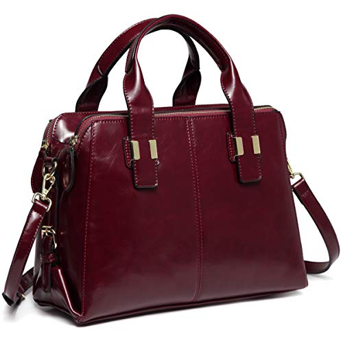 (Satchel Bag for Women, VASCHY Faux Patent Leather Top Handle Handbag Work Tote Purse with Triple Compartments Burgundy)