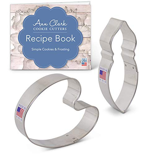 (Artist Paint Cookie Cutter Set with Recipe Booklet - 2 piece - Paint Pallette and Brush - Ann Clark - USA Made)