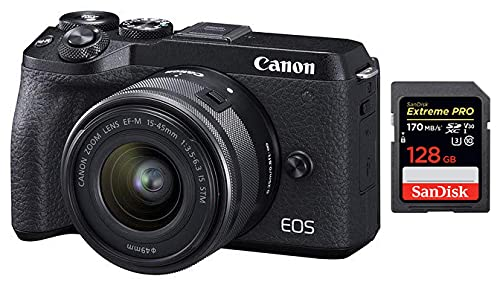 Canon EOS M6 Mark II 32.5MP + EF-M 15-45mm f/3.5-6.3 is STM Lens + SanDisk 128GB Extreme Pro SDXC UHS-I Card – C10, U3, V30, 4K UHD, SD Card
