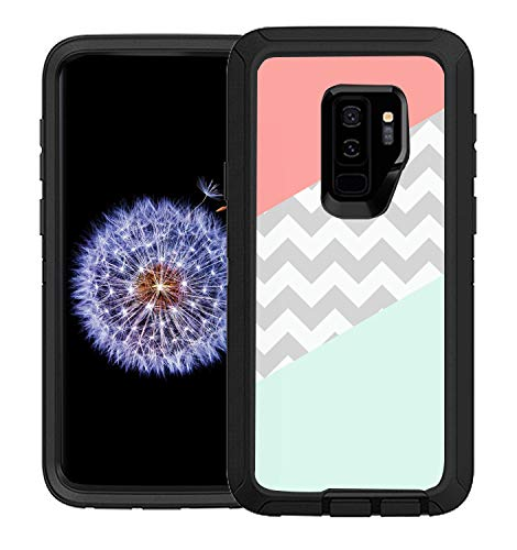 Protective Designer Vinyl Skin Decals/Stickers for OtterBox Defender Samsung Galaxy S9 Plus Case -Coral Mint Grey Chevron Design Patterns - Only Skins and NOT Case - by [TeleSkins]