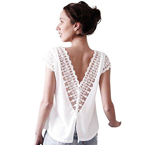 Mousseline V Blanc Sleeve De Classique LULIKA Cou Femmes Bustier Soie T Shirt Short Top sans Chemisier Lace Top Sexy Dos wv8qF