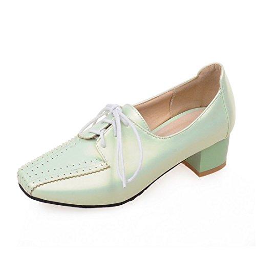 Sandalette-DEDE Calzado de Señora, Zapatos de Tacon Europeo y Americano, Vaciado de tallar, Rough Heels, Zapatos de Mujer, Plaza Tacones y Tacones Gruesos. Green