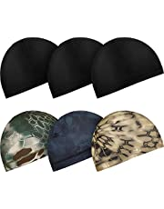 Boao 6 Pieces Cycling Skull Caps Running Sweat Wicking Hats Helmet Liner for Women and Men