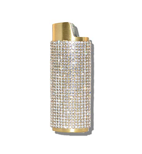 Gold Lighter Cover Sleeve with Crystal Rhinestones LS3