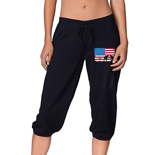 4pparel American Flag Wrestling Womens Girls Black Elastic Drawstring Waist House Sweats Yoga Jogging Pants by 4pparel