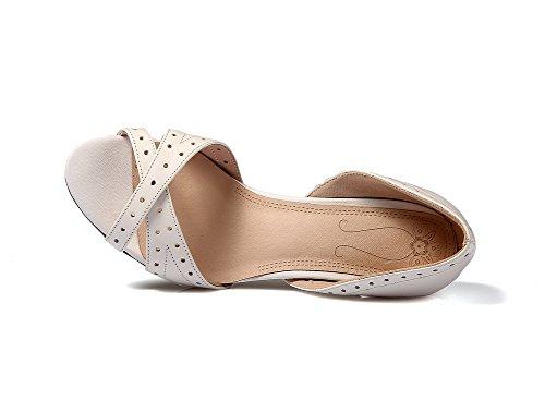 Amoonyfashion Kvinna Ko Läder Fast Pådrags Peep Toe Kick-häl Sandaler Beige