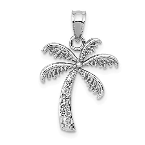 14k White Gold Palm Tree Pendant Charm Necklace Sea Shore Man Fine Jewelry Gift For Dad Mens For -
