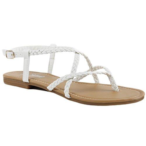 Women's Braided Strappy Gladiator Thong T Strap Flat Sandals (8.5 B(M) US, White) ()