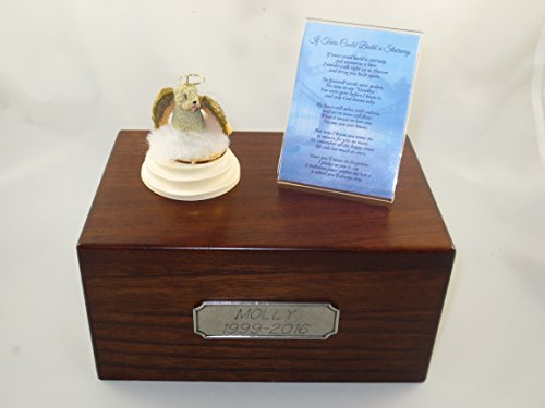 (Beautiful Paulownia Medium Wooden Urn with Soft Coated Wheaten Terrier Stairway to Heaven Figurine with Poem & Personalized Pewter Engraving)