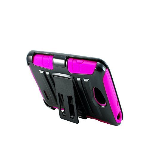 Optionz Combo 3in1 Rugged Armored Case & Belt Clip Holster Kickstand for ZTE Speed N9130 (Pink)