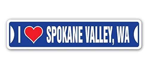 I LOVE SPOKANE VALLEY, WASHINGTON Street Sign Wa City State Us Wall Road DÃcor Gift - 22'' Long Sticker Graphic - Auto, Wall, Laptop, Cell - Valley Spokane