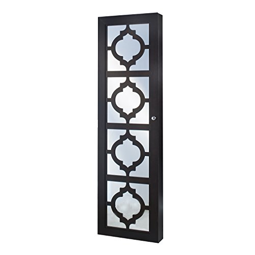 (InnerSpace Luxury Products Designer Jewelry Armoire with Decorative Mirror, Espresso)