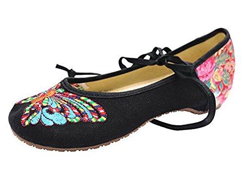 SMITHROAD Damen/Mädchen Mary Jane Halbschuhe mit Stickmuster mit Bindeband Low Top Sandalen Schwarz Rot Grün Gr.34-41 Schmetterling Muster-Schwarz