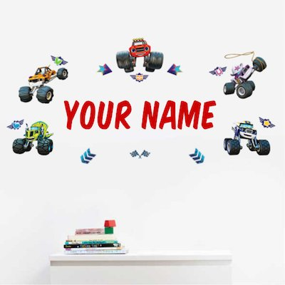 Personalized Blaze and The Monster Machines Kids Name Wall Decal: Baby