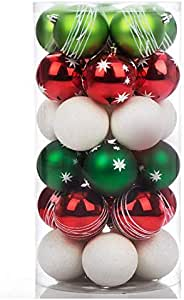"""Shatterproof Christmas Tree Decorations Ball Ornaments, Traditional Crafting Holiday Wedding Party Baubles Red Green White, 70mm/2.8"""", 30 Set"""