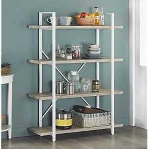 Homissue 4-Shelf Modern Style Bookshelf, Light Oak Shelves and White Metal Frame, Open Bookcases Furniture for Home…
