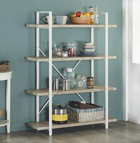 Homissue 4-Shelf Modern Style Bookshelf, Light Oak Shelves and White Metal Frame, Open Bookcases Furniture for Home Office, 54.9-Inch Height