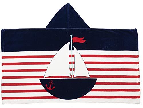 Caro Home Sailing Navy Kids Children's Hooded Hoodie Beach Towel (Navy Blue) - 100% Cotton Premium Quality Large 27