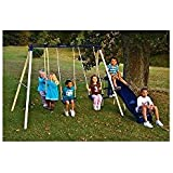 Flexible Flyer Swing 'N Glide Metal Swing Set. 6-foot Wave Slide, Air-glider for Two and Two Swings with Vinyl-covered Chain - Up to Five Kids Can Play on At Once. Build for Physical Activity and Exercise. Made in USA.
