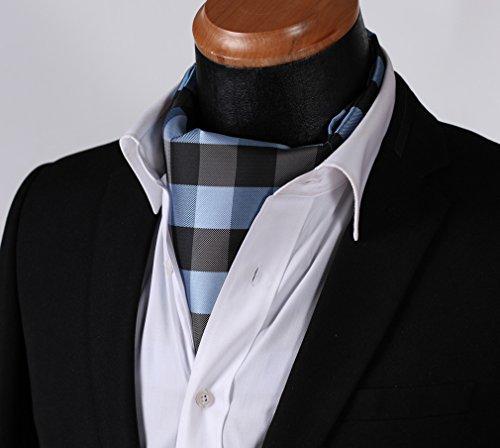 Jacquard Tie Ascot Cravat Men's Handkerchief BIYINI Woven Black Check Blue H4wnZ