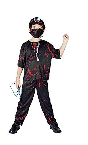 Kids Children Hallloween Slippery Surgeon Costume Age 4-12 Years (Small (Age 4-6 Years), Black) -