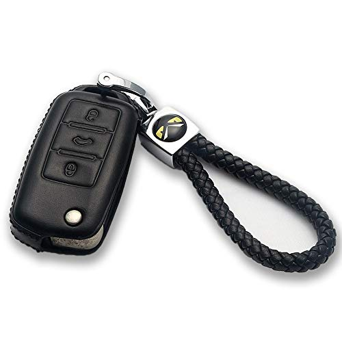 MOKIE Leather Key Cover Keyless Entry Remote Fob Bag Fit for VW Volkswagen 3 Button ()