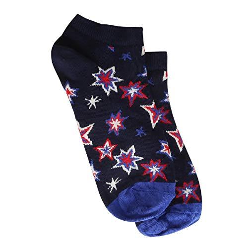 Meia Soquete Happy Socks Bang Bang Feminina - Preto+Azul - 34-38