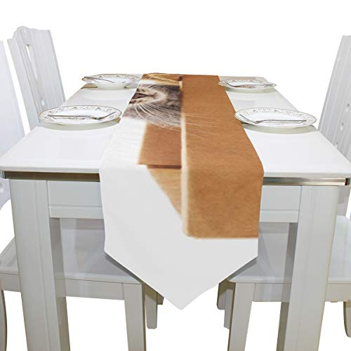 Cute Cat Animal with Box Dresser Scarf Cloth Cover Table Runner Tablecloth Place Mat Kitchen Dining Living Room Home Wedding Banquet Decor Indoor 13x90 Inch ()