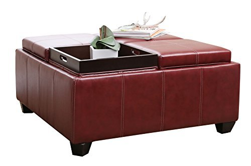 Abbyson Living Trapani Leather Square Ottoman With 4 Trays