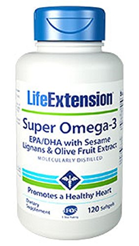 Life Extension Super Omega-3 EPA/DHA with Sesame Lignans & Olive (Extract 120 Softgels)