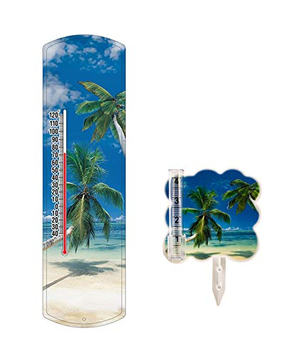 Heritage America Indoor Outdoor Thermometer Set Beach Themed Non-Mercury Thermometer 15 Inches and Matching Rain Gauge 5 Inches ()