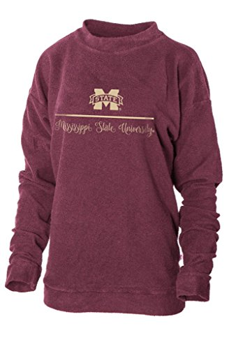 Official NCAA Mississippi State University Bulldogs HAIL STATE BULLY Women's Boyfriend-Fit Vintage Looped and Pilled Herrington Crew Neck Fleece Full Sleeve Premium Sweatshirt