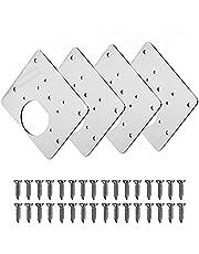 Scharnier-reparatieplaat, keukenscharnierreparatieplaten, scharnierreparatieset voor kastdeuren, roestvrij staal, 8 x 9 cm, 4 stuks