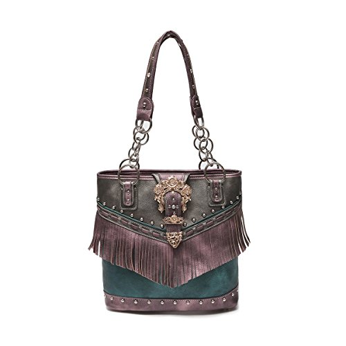 Western Handbag - Gold Buckle Stud Accented with front Fringe Décor Traditional Two-Toned Concealed Carry Tote Bag (Purple)