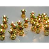 A2Z Electric Golden Kalash Diya Deepak Tealight Rice Light Lamp For Pooja/Puja/Mandir/Home Decoration And Free 1 Hand Shape LED Light Keychain