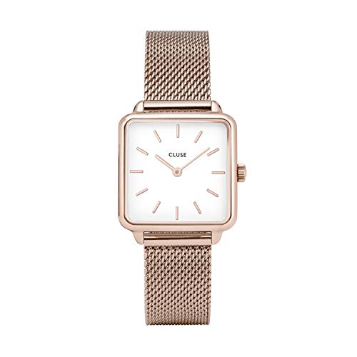 (CLUSE LA TÉTRAGONE Rose Gold Mesh White CL60003 Women's Watch 29mm Square Dial Stainless Steel Strap Minimalistic Design Casual Dress Japanese Quartz Precision)