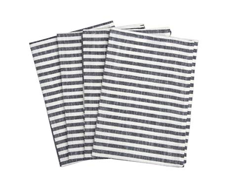 "Set of 4 Kitchen Towels, Chambray Stripes, 100% Cotton, Eco Friendly and Safe, Suitable for all Kitchens, Asphalt Color, Size 20""X28"" Product of Cote De Amor"
