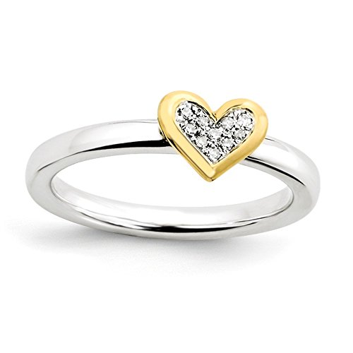 Sterling Silver Stackable Expressions Heart with Diamond and Vermeil Ring Size 5 ()