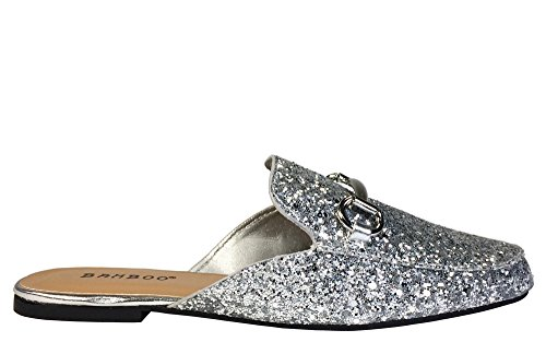 Pantofola In Bambù Da Donna Con Glitter Argento