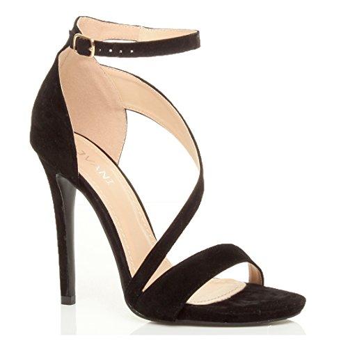 Damen Hoher Absatz Kaum Dort Asymmetrisch Gekreuzten Riemen Elegant Sandalen Schuhe Größe Schwarz Wildleder