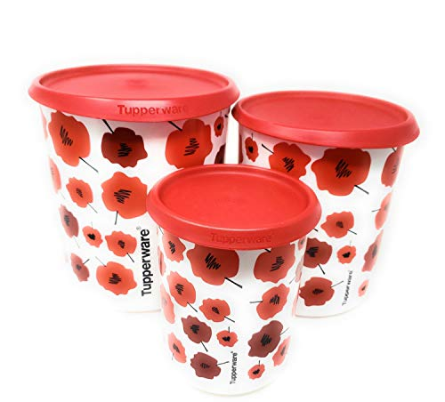 Tupperware Canister Set - Tupperware Daisy 3 Pc One Touch Canister Set