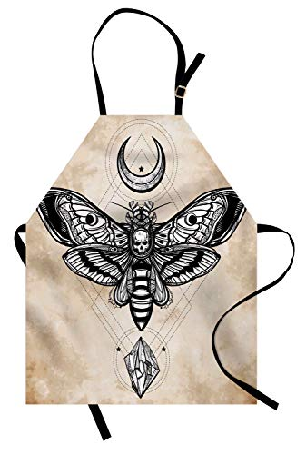 Ambesonne Fantasy Apron, Dead Head Hawk Moth with Luna and Stone Ancient Magic Skull Illustration, Unisex Kitchen Bib Apron with Adjustable Neck for Cooking Baking Gardening, Black Beige