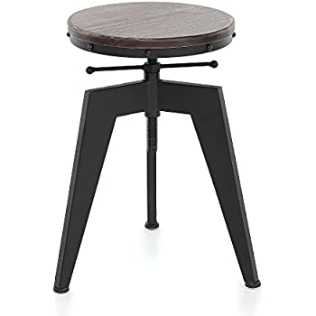 IKAYAA Adjustable Height Swivel Kitchen Dining Sitting Chair Bar Stool  Industrial Style Natural Pine Wood Top