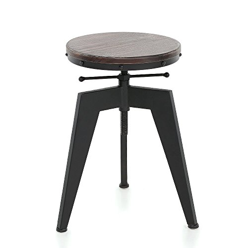 IKAYAA Adjustable Height Swivel Kitchen Dining Sitting Chair Bar Stool Industrial Style Natural Pine Wood Top and Steel
