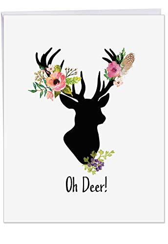 - Supersized 'Oh Deer' Season's Greetings Card with Envelope 8.5 x 11 Inch - Stylish Deer with Multi-Pronged Antlers Decorated with Colorful Flowers- Christmas Stationery Gift J4999AXSG